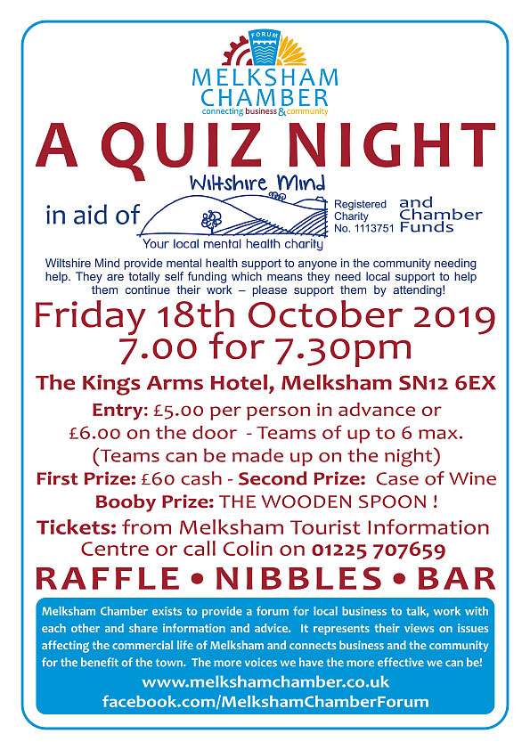 Melksham Chamber Quiz Night in aid of Wiltshire Mind and Chamber Funds Friday 18th October 2019 The Kings Arms 7.00 for 7.30